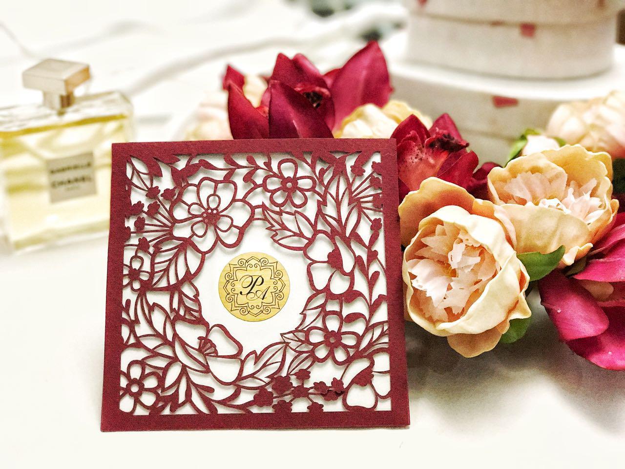 Свадебное приглашение в цвете MARSALA
