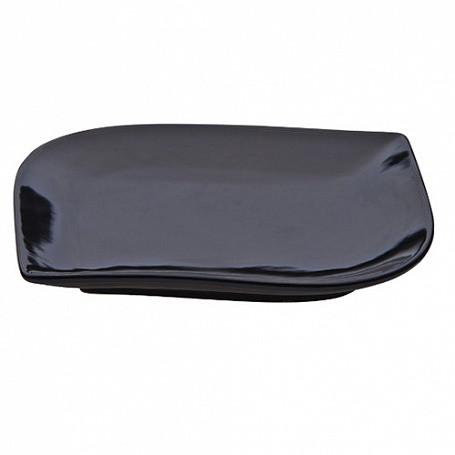 Тарелка 25х19х1,7 см, (в упак 6 шт) черная керамика арт.401(BLK)