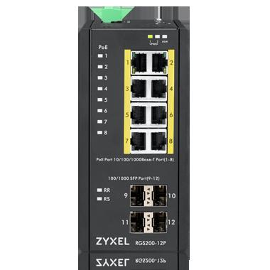 Zyxel RGS200-12P Промышленный L2 PoE+ коммутатор, 8xGE PoE+, 4xSFP, крепление на стену/DIN-рейку, IP30,