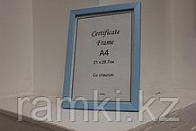 Рамка А4, фоторамка для сертификатов и документов, для вручения голубая, под дерево, в розн. и оптом