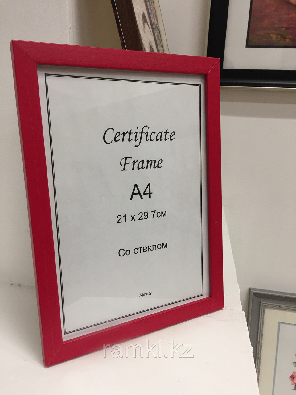 Рамка А4, фоторамка для сертификатов и документов, для вручения красная, под дерево, в розн. и оптом