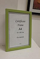 Рамка А4, фоторамка для сертификатов и документов, для вручения зеленая, под дерево, в розн. и оптом