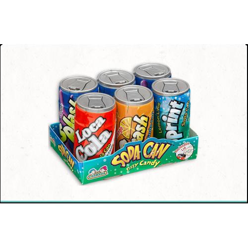 """НАБОР драже с шипучкой """"SODA CAN"""" 6 баночек (4 вкуса по 7 гр) 42гр(12шт в упаковке)/KIDSMANIA Китай/"""