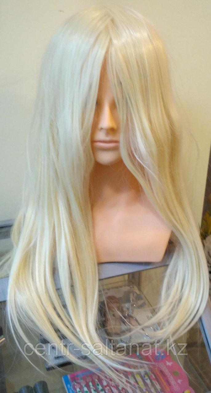 Учебная голова болванка, искусственные волосы блонд