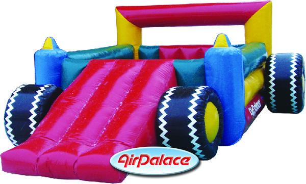 Надувной батут детский Машина Формула-1 с горкой