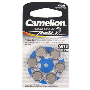 Батарейки для слуховых аппаратов Camelion A675