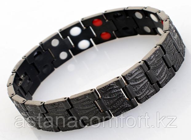 Лечебно-энергетический мужской черный браслет «Квадро» 4 в 1. Двойной усиленный эффект.