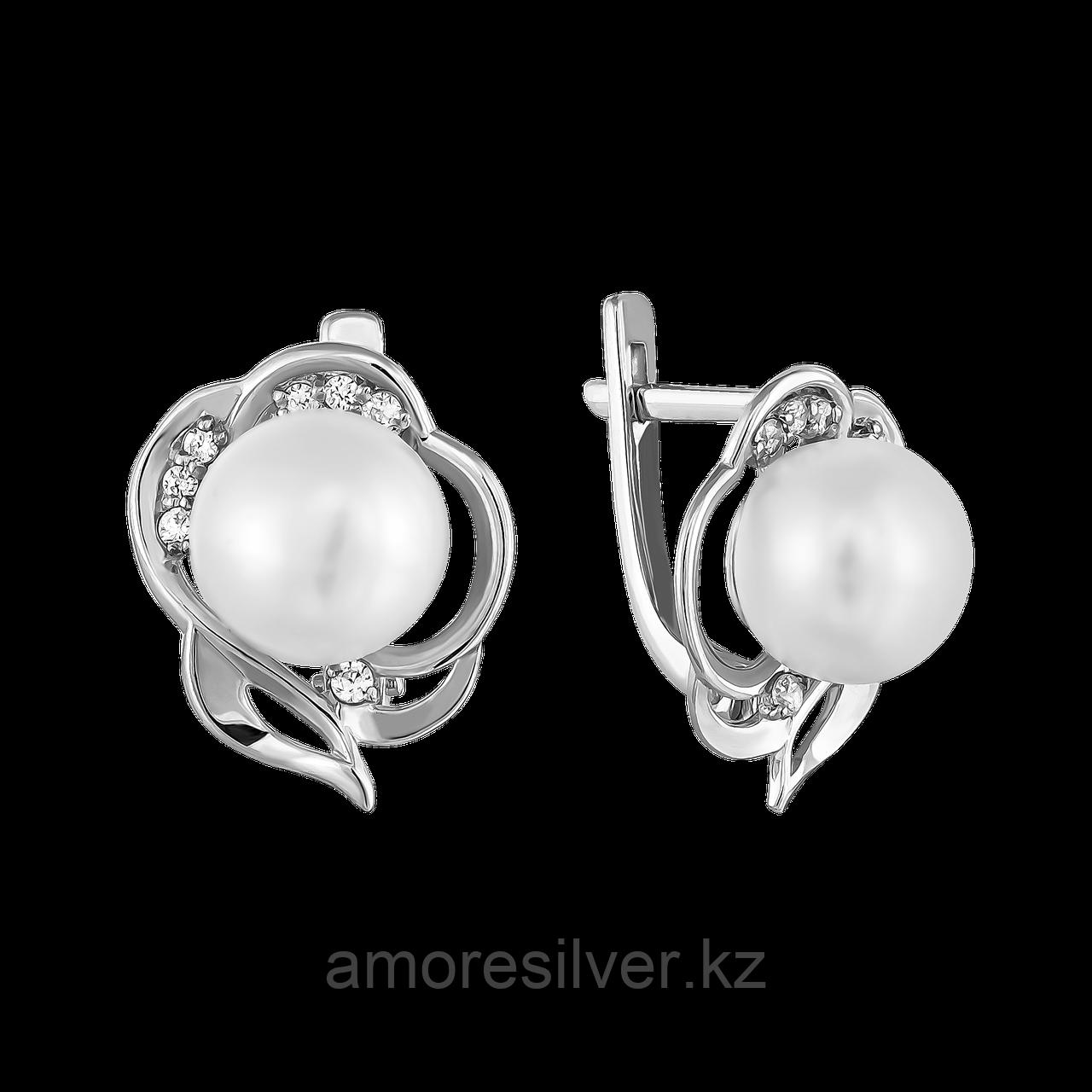 Серьги Teosa серебро с родием, фианит, флора 024-0814
