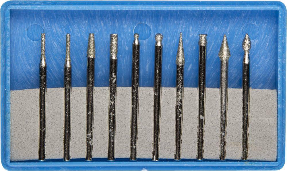(33383-H10) Набор ЗУБР: Мини-насадки с алмазным напылением в пласт. боксе, P=180, хвостовик d=3мм, 10 предм