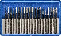(33383-H20) Набор ЗУБР: Мини-насадки с алмазным напылением в пласт. боксе, P=180, хвостовик d=3мм, 20 предмет.