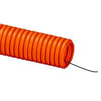 DKC Труба ПНД гибкая гофр. д.25мм, тяжёлая с протяжкой, 50м, цвет оранжевый, фото 1