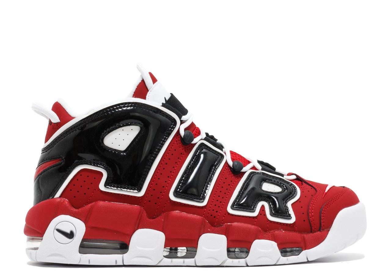 Кроссовки баскетбольные Nike Air More Uptempo Red Black - фото 1