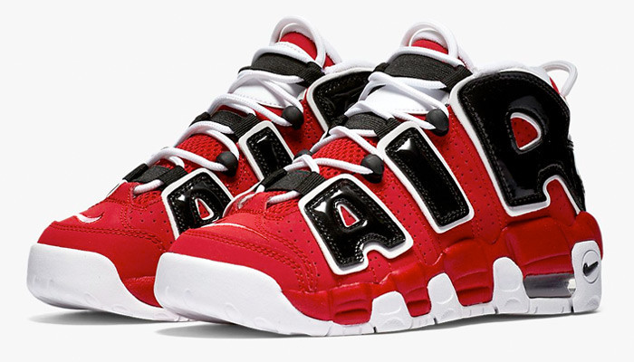 Кроссовки баскетбольные Nike Air More Uptempo Red Black - фото 2