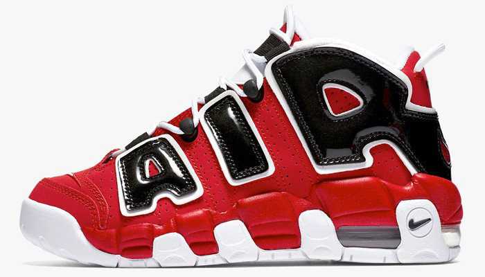 Кроссовки баскетбольные Nike Air More Uptempo Red Black - фото 4