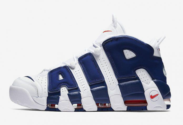Кроссовки баскетбольные Nike Air More Uptempo White Blue - фото 2