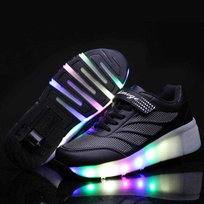 Роликовые кроссовки Aimoge LED Light Black - фото 2