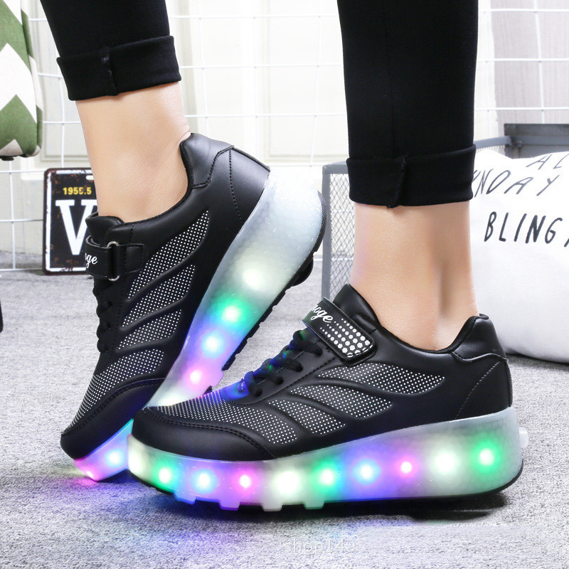 Роликовые кроссовки Aimoge LED Light Black - фото 3