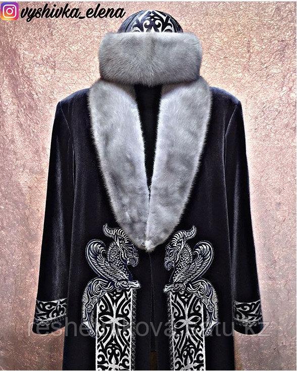Чапан из серого велюра с вышивкой серебром