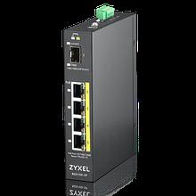 Zyxel RGS100-5P коммутатор промышленный, 4xGE PoE+, 1xSFP, крепление на стену/DIN-рейку, IP30, два
