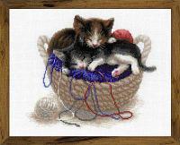 """Набор для вышивания крестом """"Котята в корзине"""", фото 1"""