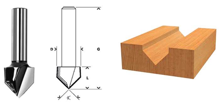 (36652) Фреза пазовая V-образная, DxHxL = 10х10х42 мм