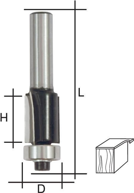 (36665) Фреза кромочная прямая, DxHxL = 13х25х66 мм