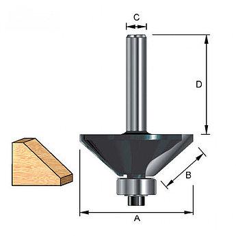 (36672) Фреза кромочная профильная c нижним подшипником, DxHxL = 28х12,7х53 мм