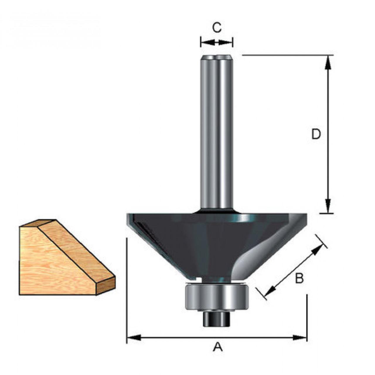 (36687) Фреза кромочная конусная с нижним подшипником, угол 45гр., DxL = 25х50 мм
