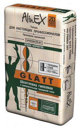 """ШПАТЛЕВКА ГИПСОВАЯ """"GLATT """" 25 КГ, фото 2"""