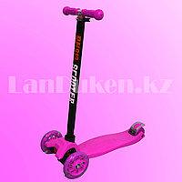 Детский самокат четырехколесный с LED подсветкой колес и металлической рамой (розовый)