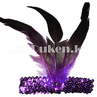 Изумрудно-фиолетовая винтажная повязка с перьями