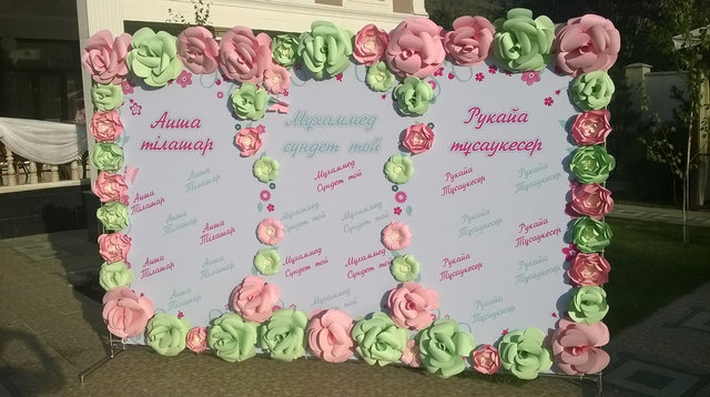 Бумажиное оформление: оформление цветами из бумаги 10