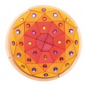 Орнамент в круге «Сверкающие камешки 3» (красно-желтые оттенки)                арт. RN17890