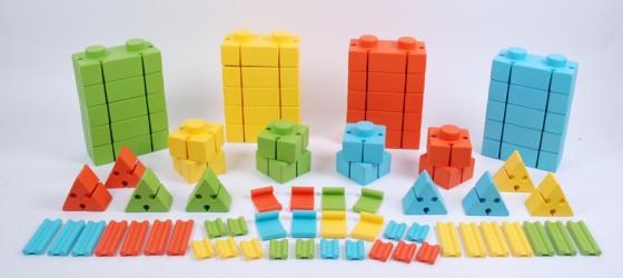 Конструктор из мягких блоков с соединительными элементами WISE (76 эл-тов, 4 цвета)               арт. RN23097