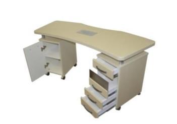 Стол маникюрный с 2 тумбами и фигурной столешницей (МДФ)                     арт. PlT23651