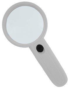 Лупа ручная круглая 3х-75мм для чтения с подсветкой (2 LED, белая)                арт. Krt24352
