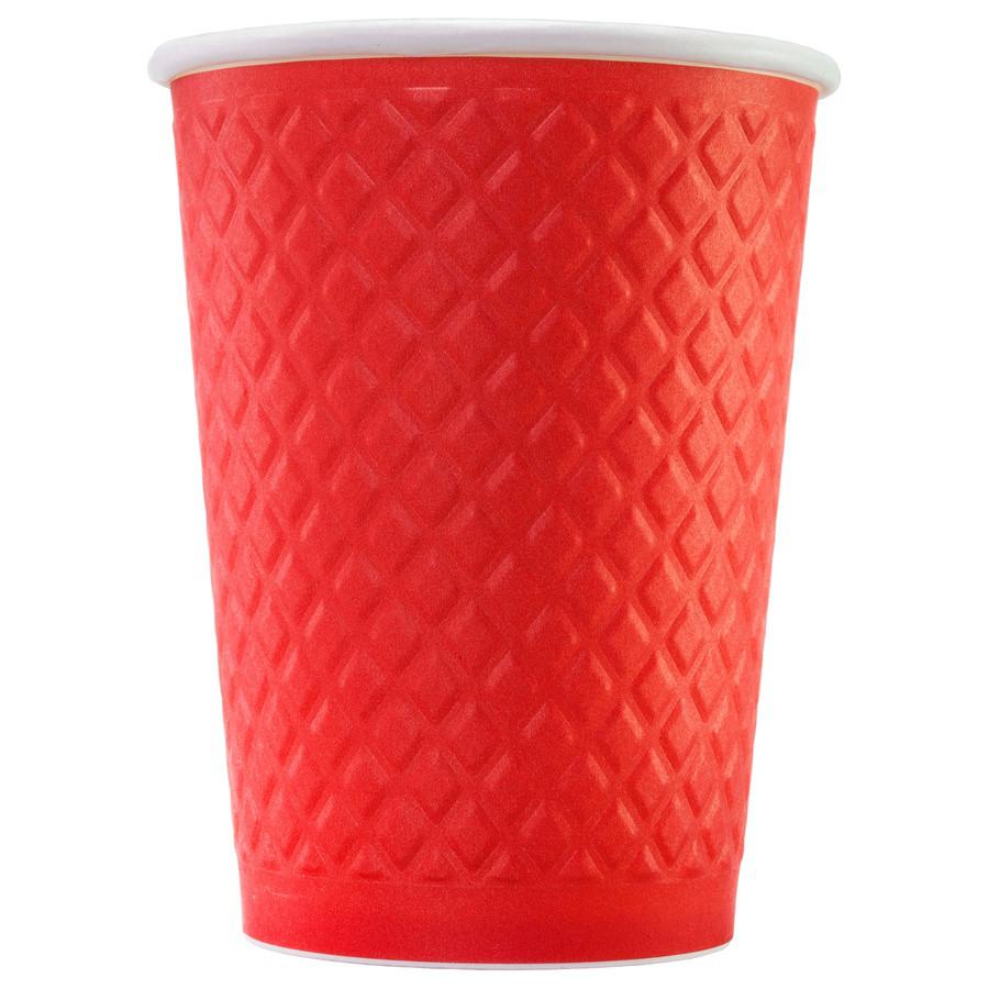 Стакан бумажный ThermoCup Waffle Красный 300 мл