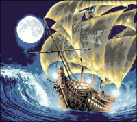 "Канва с нанесённым рисунком""Корабль"" 42х47 см"