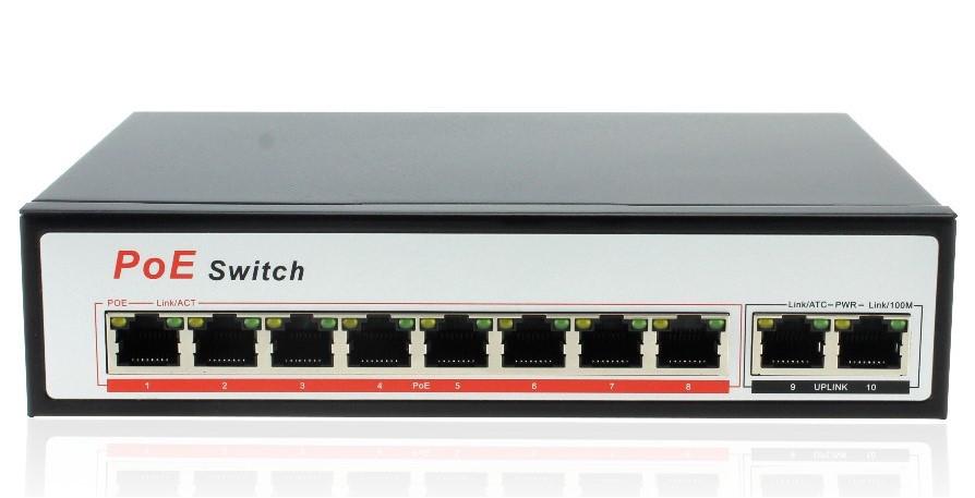 Коммутатор сетевой 10 портов, 8 PoE + 2 UpLink, внутренний