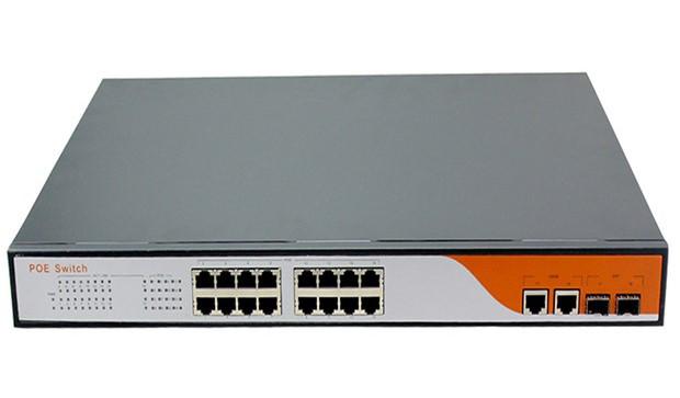 Коммутатор сетевой 18 портов, 16 PoE + 2 UpLink, внутренний