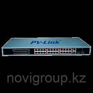 PV-Link PV-POE24G2F2 - 28 портовый коммутатор с 24 портами POE 10/100 Мбит, 2 портами LAN 10/100/1000 Мбит и 2