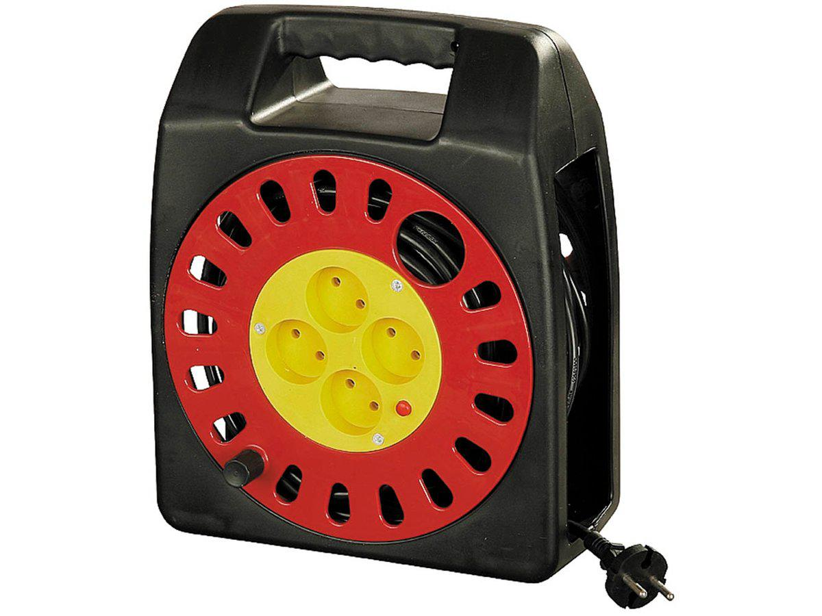 (SV-55073-25) Удлинитель СВЕТОЗАР электрический на катушке, евро, 4 гнезда, 25м