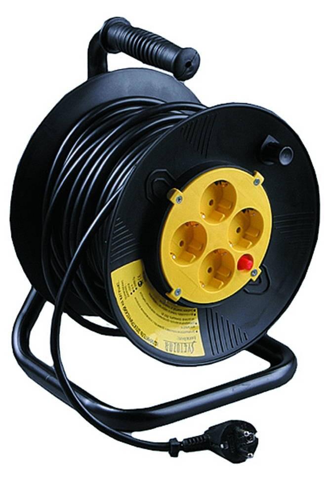 (SV-55083-50) Удлинитель СВЕТОЗАР электрический с заземлением на катушке, евро, 4 гнезда, 50м