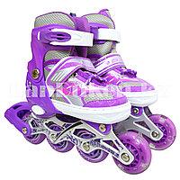 Ролики раздвижные с гелевыми колесами с прошивкой (коньки роликовые) фиолетовые