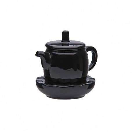 Чайник китайский с подставкой 300 мл, (в упак 1 шт) черная керамика арт.2504(BLK)
