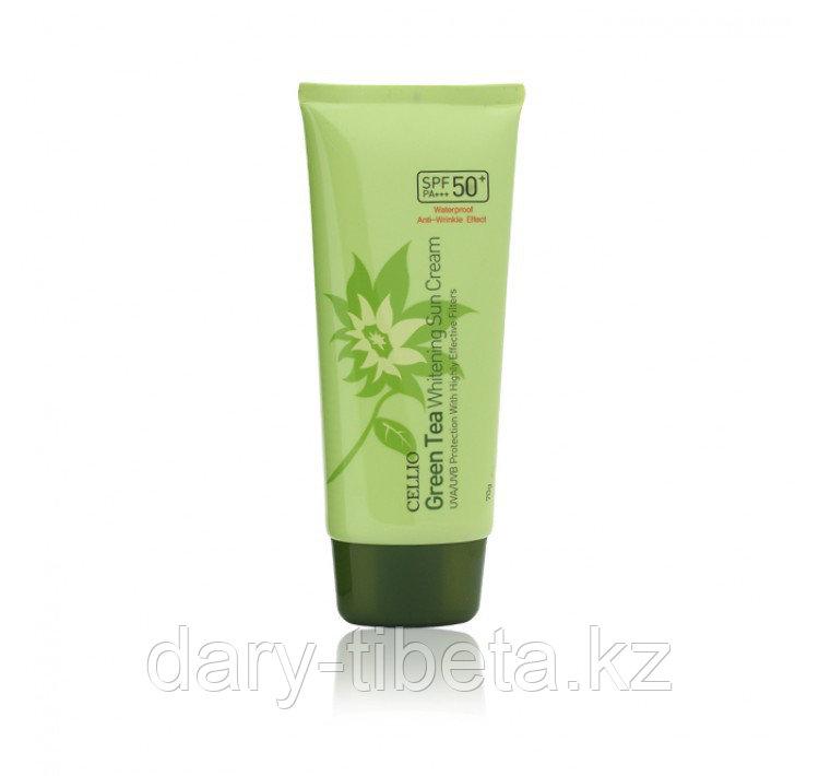 CELLIO Green Tea Whitening Sun Cream 50+/PA-Солнцезащитный крем на основе зеленого чая