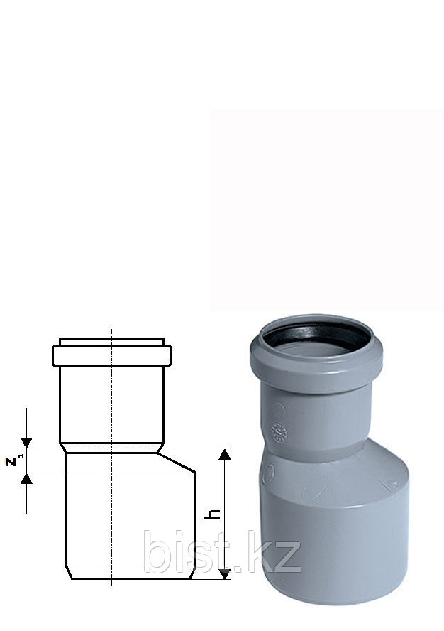 Переход эксцентрический канализационный 40/50 ПП