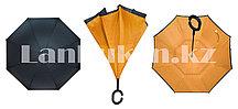 Чудо зонт Перевертыш оранжевый с ручкой крючком Up Brella