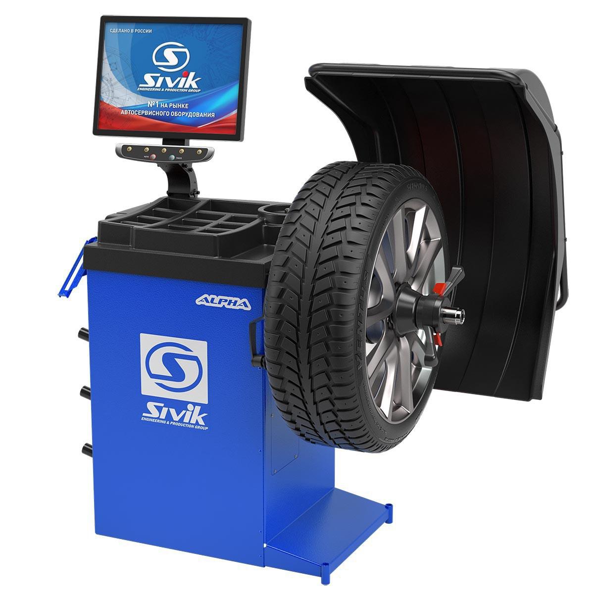 Станок для балансировки колес автомототранспортных средств СБМП-40 Л (РФ, синий, новый дизайн)