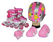 Комплект ролики раздвижные с защитным снаряжением розовый со звездочками